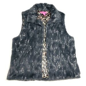 Betsey Johnson S Faux Fur Vest Gray Sequins Jacket